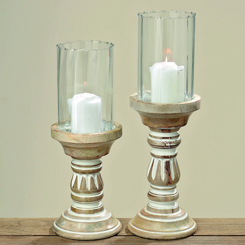 Windlicht Campos Handarbeit aus Mangoholz und Glas