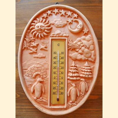 Wandrelief Terrakotta Thermometer oval Italien